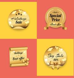 holidays best offer label on gold paper stamp set vector image vector image