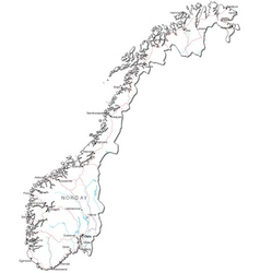 Norway Black White Map vector image vector image