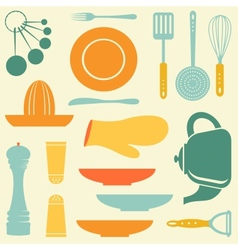 Retro kitchen collection vector image vector image