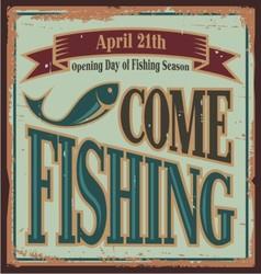 Vintage fishing metal sign vector image vector image