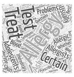 Allergies in adolescents word cloud concept vector