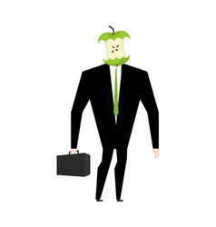 businessman apple core dumb boss silly manager vector image vector image