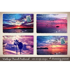 Set of 4 Stunning Vintage Postcard with old style vector image vector image