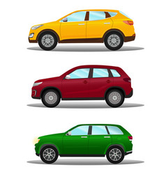 set of different off-road vehicles in three colors vector image