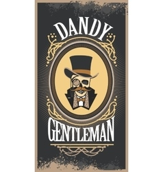 skull gentleman in the cylinder in a frame vector image vector image