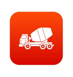 truck concrete mixer icon digital red vector image vector image