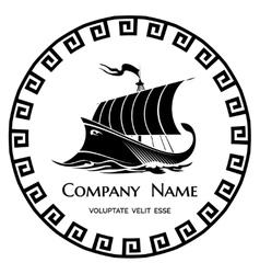 Ancient Greek Galley logo icon vector image