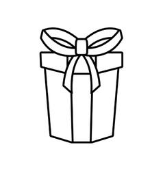 gift box ribbon parcel shopping linear vector image