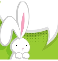 White cute rabbit green comic bubble vector image vector image