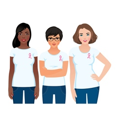 Women activist awareness of breast cancer vector image