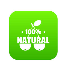 100 percent natural icon green vector image