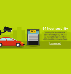 24 hour security banner horizontal concept vector image