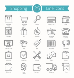 25 Shopping Line Icons vector image