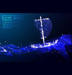 A polygonal boat sailing on sea waves grid vector