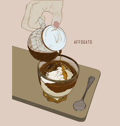 affogato coffee hand drawn sketch line art vector image