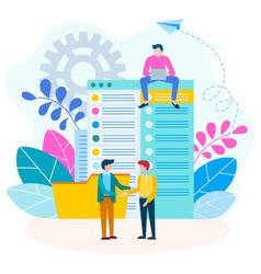 agreement handshake contract between businessmen vector image
