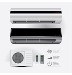air conditioner realistic and remote control vector image