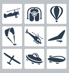 aircrafts icons set autogyro jet pack air baloon vector image