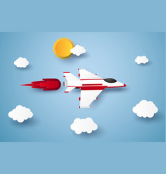 airplane flying in the sky paper art style vector image