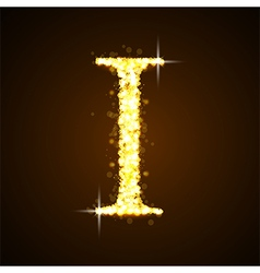 Alphabets I of gold glittering stars vector