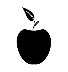 Apple fruit with leave organic nutrition food vector