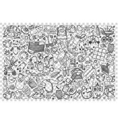 bashop doodle set vector image