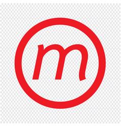 Basic font letter m icon design vector