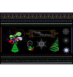 Borders and patterns on the Christmas theme vector image