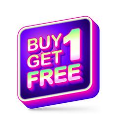 Buy 1 get 1 free sale tag app icon with neon vector