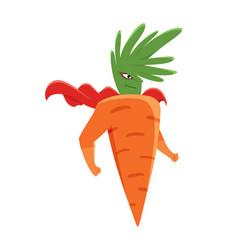 Cartoon superhero carrot character standing vector