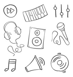collection stock of music object doodle vector image