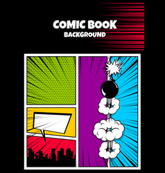 color comics book cover vertical backdrop vector image