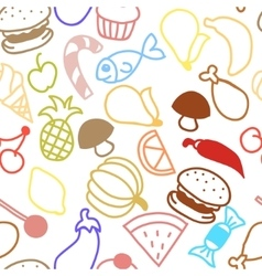 Cute fruit outline seamless texture vector