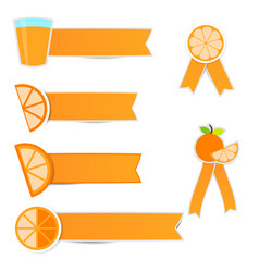 cute orange fruit stickers with ribbon on white vector image