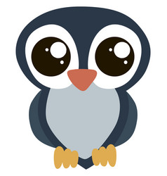 cute owl with big eyes on white background vector image