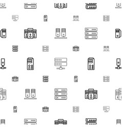 Datacenter icons pattern seamless white background vector