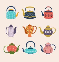 decorative kettle colored kitchen householder vector image