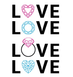 Diamond love word art vector