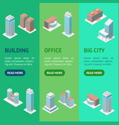 different types office building 3d banner vector image