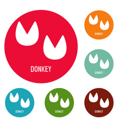 Donkey step icons circle set vector