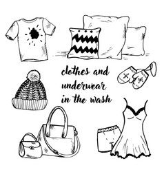 doodle clothing and bedding and bags vector image