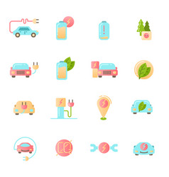 electric car icons set colored material design vector image