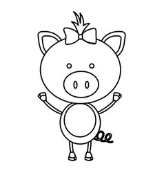 figure teddy pig bow head vector image