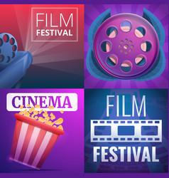 Film festival banner set cartoon style vector