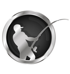 fishing symbol silver vector image