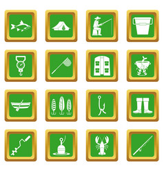 fishing tools icons set green vector image