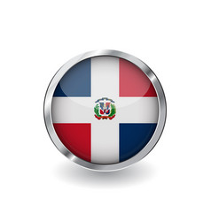 flag of dominican republic button with metal vector image