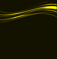Golden bright swoosh metal lines over black vector