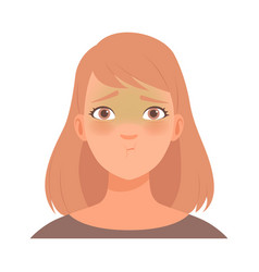 Great embarrassment on face a young woman vector