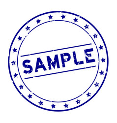 Grunge blue sample word round rubber seal stamp vector